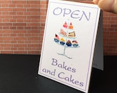 Miniature Dolls House cakes and Bakes  Advertising Open Billboard sign OOAK Original Miniature Art