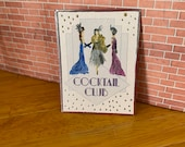 Art Deco Cocktail Club poster style  Painting Dollhouse miniature original art painting
