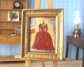 Dolls house period style red dress  inspired by outlander Collectible Miniature Art framed 1:12