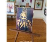 Dream Catcher Tree of life Dolls House Painting Original miniature Art 1:12
