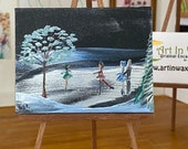 Miniature Dollhouse Painting, ice skating winter landscape original Art