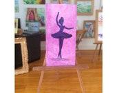 silhouette  ballerina ballet painting Dolls House Original Art Painting Dollhouse furniture
