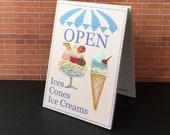 Ice Cream Parlour Miniature Dolls House Open Billboard sign OOAK Original Miniature Art