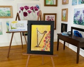 Harp miniature dollhouse framed original art Picture