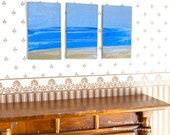 Seascape Miniature Dolls House painting Triptych Style Original Modern Dollhouse Art