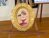 Lady portrait  Dollhouse period framed Original Art  Paintings by Miniature Artist Hazel Rayfield