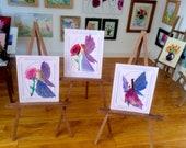 Flower Fairy Painting 1:12th scale Paintings Set 0f 3 Dollhouse miniature original art painting