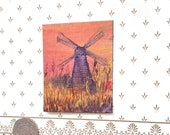Sunset Windmill Landscape  Painting Original Art Miniature Collectible Dolls House Paintings by Miniature Artist Hazel Rayfield