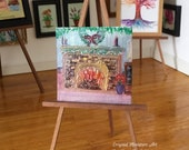 Christmas Miniature  Dolls House Painting   Fire Place   Original Collectible Dolls House Paintings by Miniature Artist Hazel Rayfield