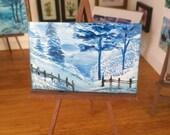 DollHouse Art Picture winter landscape Original Art In Wax