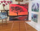 Africa Sunset Landscape Tree  Painting Miniature Dolls House Picture Original Art In Wax