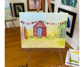 Beach Hut Surf Board Bunting Seascape Miniature Original Painting Dolls House Art dollhouse OOAK