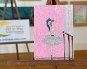 Miniature Ballet paintings. Set of two ballerinas at the bar dollhouse art