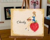 Pin up Girl painting. Miniature dollhouse painting Cheeky Strawberry