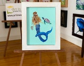 Framed Dolls House Mermaid Miniature Painting