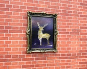 Modern miniature dollhouse painting Golden Stag