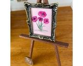 Dollhouse Pink Poppy Frame Original Art Miniature Painting By Hazel Rayfield