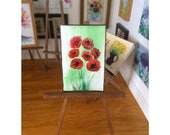 Wildflower Poppy Art  Dolls House MIniature Painting Original Art for Dolls House Poppies Dollhouse Picture