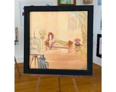 Miniature Painting, The Artists Muse, Nude Original Framed Art