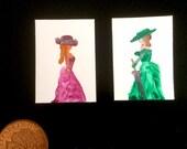 Dollhouse miniature period lady original art paintings set of 2