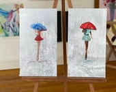 Set of two Girl with Red Umbrella Original Miniature Painting Modern Art Dollhouse