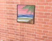 Sunset Seascape palm tree beach Dolls House Painting Dollhouse Art 1:12th