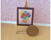 1:24 Dollhouse flower bouquet picture  Miniature Framed Original Painting