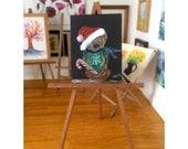 Christmas Teddy Bear Miniature  Dolls house  Painting Original Art In Wax