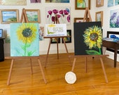 Modern Miniature Set of two Sunflower Painting canvas style original miniature art