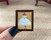 Wedding Miniature Framed 1 24th Dollhouse Bride dress Mannequin  Original Painting