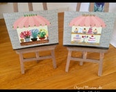 SOLD reserved for JP Shop Window Paintings set of 2 Dollhouse miniature original art paintings