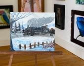 Winter Steam Train  Landscape Miniature Original Painting Dolls House Art dollhouse OOAK