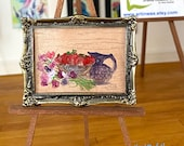 Vintage look dollhouse still life painting in an antique style frame