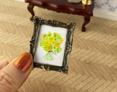 Yellow Roses DollHouse painting, 1:12th Scale Dolls House, miniature original art