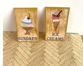Dollhouse miniature vintage style ice cream signs  original art painting
