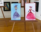 Miniature Lady Paintings,  set of  2 Dollhouse miniature original art painting