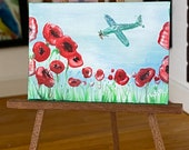 Miniature Dolls house Aircraft Fly By Poppy Painting