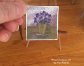 Miniature Flower Vase Painting 1 12th Scale Original Dolls House Picture