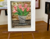Bucket of tulips by the wall. Miniature dollhouse painting