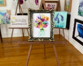Autumn Bouquet Miniature dollhouse Collectible DollHouse Framed Painting by Miniature Artist Hazel Rayfield