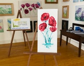 Modern miniature poppy  painting original art dollhouse  picture