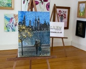 Miniature Cityscape, autumn Dollhouse  Original Art Painting