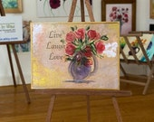 Miniature Live laugh love Dolls house shabby chic roses Painting