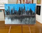 Miniature Dollhouse Original Art, Cityscape Painting