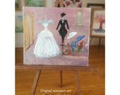 Miniature Wedding Shop bride Dress Gown Top hat and tails Dolls House Painting Original Miniature Art
