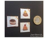 Chocolate Paintings Set 0f 3 tiny inch Dollhouse miniature original art painting