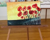 Poppy Sunset  Dollhouse miniature, painting  shown here in my 1:12 art gallery