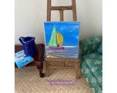 Sail Boat Miniature DollHouse Seascape Original Art