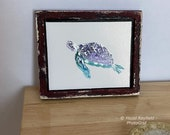 Miniature Turtle  Painting Dollhouse Framed Distressed