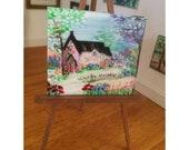 Miniature Dolls House Cottage Landscape Painting Dollhouse Art 1:12th